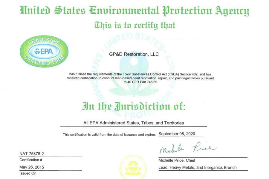 GP&D Restoration EPA Certification